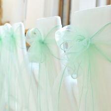 100x Mint Organza Chair Sashes Bows Ties Birthday Wedding Banquet Ceremony Decor