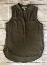 Women's H&M Olive Green Split Neck Sleeveless Semi-Sheer Top-Size 6