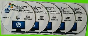 HP Omni 220-1050xt Factory Recovery Media 5-Discs Set / Windows 7 Home 64bit