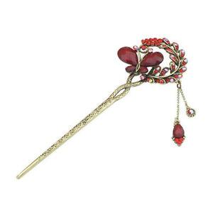 Women Crystal Rhinestone Butterfly Flower Metal Hairpin Hair Stick Hair Clip