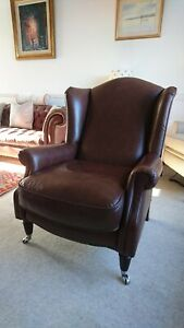A Laura Ashley Leather Southwold Wing Chair