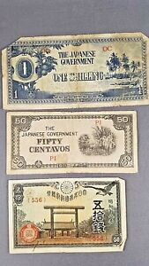 Lot of 3 Japanese Government Banknote Currency Paper Money WWII Japan
