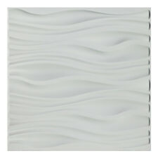 A10037 - Pvc Wave Board Textured 3D Wall Panels, White Wave, 12 Tiles 32 Sf