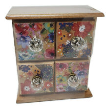 The Pioneer Woman Floral Spice Box 4-Drawer Natural Wood Dazzling Dahlias Tea