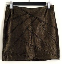 FOREVER NEW Ladies Black Metallic Gold Mini Casual Business Evening Skirt Size 8