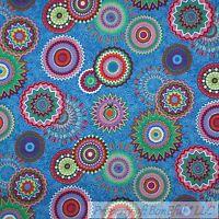BonEful Fabric FQ Cotton Quilt Blue Rainbow Paisley Flower Dot Girl Shabby Chic