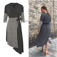 Topshop Spot And Stripe Midi Wrap Dress - Size 8