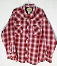 Wrangler Western Shirt mens Pearl Snap Rockabilly 2XL XXL Red White Plaid L/S