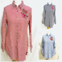 Ladies Women Embroidered Patch Flower Long Collar Shirt Dress Blouse Party Top