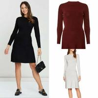 Ladies Womens Black Burgundy Light Grey Long Sleeve Knitted Skater Dress