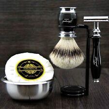 Men's Shaving Set With Badger Hair Brush, DE Safety Razor,Stand & Bowl