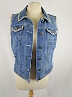 Baccini Embroidered Denim Vest Size M Women's Hand Painted Flowers Cactus Back