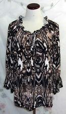 Worthington Womens Plus Size 1X Black White Tie Front 3/4 Poet Sleeve Top