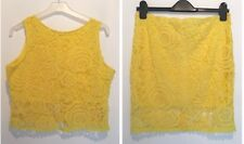 ONE SIZE (12) YELLOW LACE TOP & SKIRT SET SUMMER/HOLIDAY/TOWIE/CHELSEA/BEACH NEW