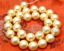 """14mm Round Yellow Sea Shell PEARL Loose Beads For Jewelry Making DIY Strands 15"""""""