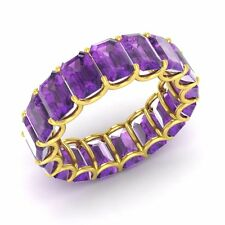 Certified 8.74 Ctw Emerald Cut Amethyst 14k Yellow Gold Full Eternity Band Ring