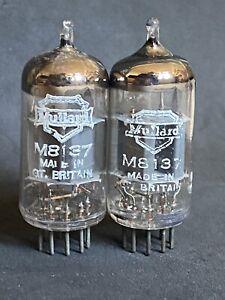 RARE STRONG PAIR OF MULLARD M8137 CV4004 ECC83 BOX PLATE 641 CODES 1963,64