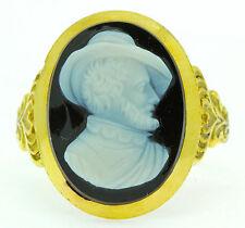 Un magnifico HARDSTONE anello con Cameo di Guy Fawkes circa 1800's