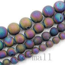 "Natural Druzy Drusy Metallic Titanium Coated Gemstone Beads Bracelet 7.5"""