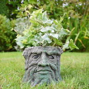 Garden Planter Pot Green Man Novelty Tree Stump Plant Flower Holder Fun