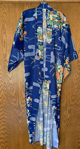 Vintage HAYASHI Royal Blue Floral Birds Kimono Japan ONE SIZE NEW