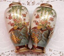 VTG PAIR Mid-Century Japanese Vase Satsuma Pottery Hand painted Pheasant w Gilt