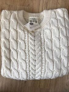 Traditional Aran 100% British Wool Cream Cable Knit Crew Neck Jumper Size XXL