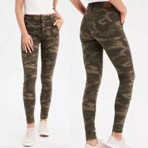 AMERICAN EAGLE Super Stretch Hi-Rise Jegging Green Camouflage Jeans Size 0