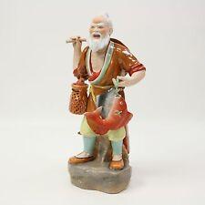 "15"" Vtg Porcelain Old Man Fisherman Fish Basket Bamboo Chinese Figurine Statue"