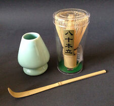 Japanese Tea Ceremony 80 Count Wisk Whisk, Chashaku Bamboo Scoop & Shaper Stand