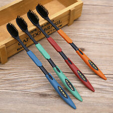 Unisex 4 Pcs Bamboo Ultra Oral Dental Soft Care Charcoal Toothbrush Nano Brush