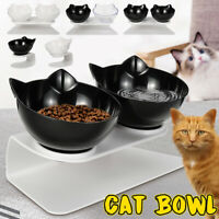 Cat Double Bowls with Raised Stand Pet Food Water Bowl Cats Dog Feeder