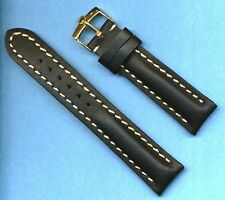 GOLD ROLEX BUCKLE &  20mm GENUINE BLACK LEATHER STRAP BAND WHITE STITCH PADDED