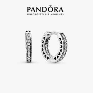 Genuine Pandora Sterling Silver Pavé Heart Hoop Earrings 296317CZ With Pouch