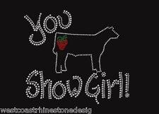 FFA You Show Girl Steer with Strawberry Rhinestone Iron on Transfer W6IW
