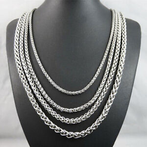 """100% new 20 """"-30"""" stainless steel silver female men's necklace 3/5/6 / 8mm USA"""