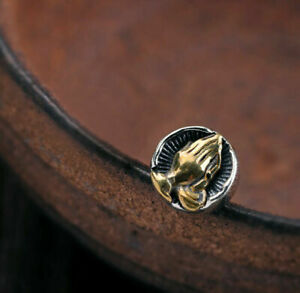 Sterling Silver &Brass Faith Prayer Hand Biker Men Hip Hop Stud Earrings A1123