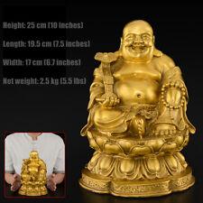 25cm,Buddhist China Laughing Fat Buddha Maitreya,BRASS Statue,Happy Bronze craft