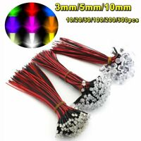 10/20/50/100pcs DC 9-12V LED Pre wired Light Emitting Diodes Wire 3mm 5mm 10mm