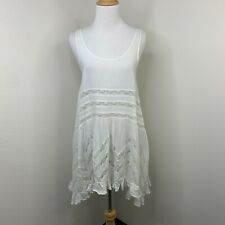 Free People Intimately White Voile Lace Trapeze Swing Asymmetrical Dress Size XS