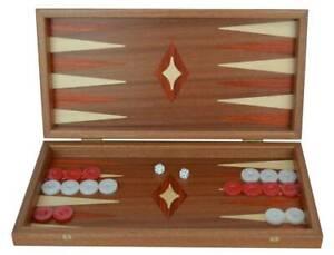 "Manopoulos Traditional Mahogany 15"" Handmade Backgammon Set - Red White Chips"