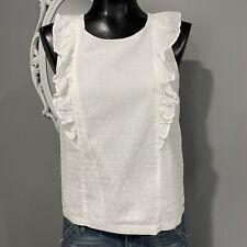 Size 2 - J.CREW Womans White Swiss Dot Cotton Blouse Top