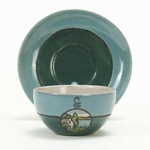 SEG Saturday Evening Girls PR Pottery house landscape cup saucer arts & crafts