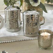 Old Dutch Stainless Steel Hammered Stovetop Salt and Pepper Set 4-1/4-Inch