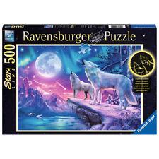 RAVENSBURGER Erwachsenenpuzzle Wolf im Nordlicht Leuchtpuzzle Starline 500 Teile