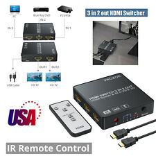HDMI Switch 3 in 2 out HDMI Splitter Automatical Switcher w/ IR 4k 3D HDMI 1.4