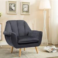 Large Single Seat Armchair Sofa Velvet Padded Living Room Cafe Reception Sofa UK