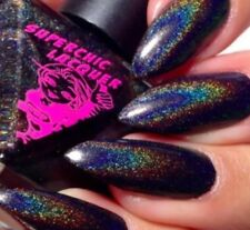 Black Holographic Galaxy Stiletto Nails