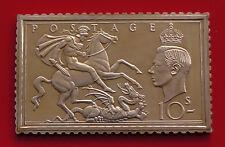 Sello de plata chapado en oro Lingote rey Jorge VI KG6 GB GB 10/- 24.07g