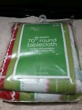 """NEW 70"""" ROUND TABLECLOTH """"BE MERRY"""" PEVA FACE & 100% POLYESTER BACK"""